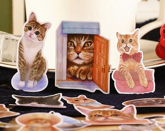 Cats Single Stickers / Cute Stickers / Kawaii Stickers / New Stickers / Scrapbook Stickers / Funny Sticker TZ1761