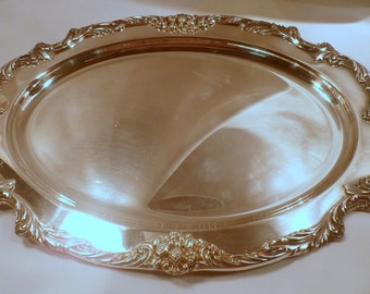 """Reed & Barton King Francis Silver Plate Serving Tray, 19"""" Length, Excellent Condition"""