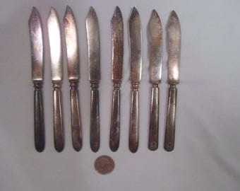 Eight Vintage Silver-Plate Fruit Knives, Rogers Bros, Rockford