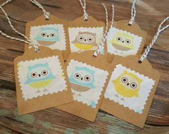 OWL TAGS, Owl Gift Tags, 12 Owl Thank You Tags, Handmade Tags, Thank You Tags, Owl Party Favors, Custom Tags, Owl Baby Shower