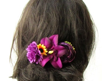 Dark Purple Yellow Sunflower Orchid Carnation Rose Hair Comb Headpiece Vtg 1932