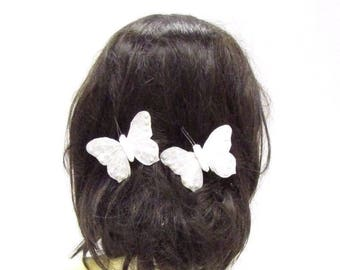 2 x White Pearl Butterfly Hair Clips Bridesmaid Christening Glitter Feather 2853