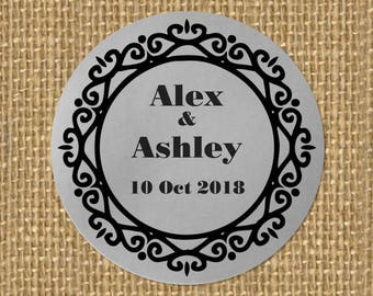 SIiver Foil Personalized Wedding Candy wrappers/ stickers for Favors / envelope seals #C