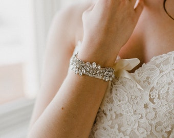 Wedding Bracelet | Crystal Bracelet | Crystal Bridal Bracelet | Rhinestone Cuff Bracelet | Silver Azalea Bracelet Cuff