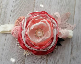 Coral and peach couture headband