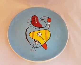 Ceramic mid-century design salad or dessert plate blue hand made
