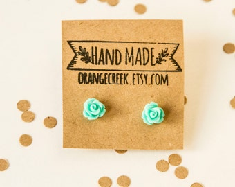 Turquoise Rose Studs,Turquoise Earrings,Rose Earrings , Flower Earrings ,Flower Studs, Bridesmaid Gift, Gift for Her, Spring Fashion