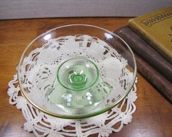 Pale Green Glass Pedestal Candy Dish - Trinket Dish - Gold Accent