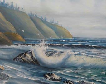 Old vintage artist signed original art painting coastal landscape beach ocean waves nautical seascape