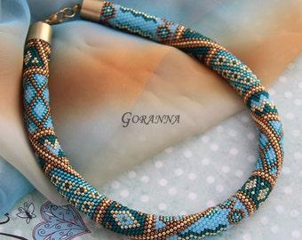 Bead crochet necklace Sea Treasures