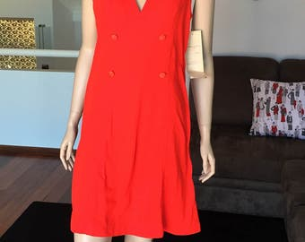 H. FRISCH Vintage Ladies XW Red Pinafore Dress Unused With Original Tags