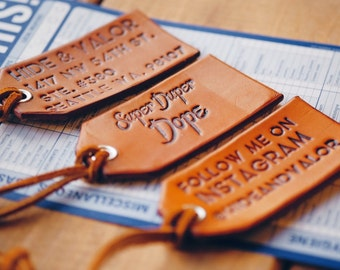 Pair (2) Of Leather Luggage Tags w/ Leather Attachment, Personalized Luggage Tags, Custom Luggage Tag, Engraved Luggage Tag, Wedding Favors!