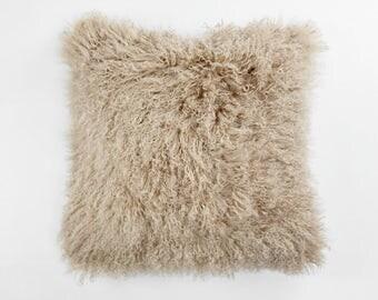 """20"""" Square Tibetan / Mongolian Lamb Fur Pillow Dark Beige"""