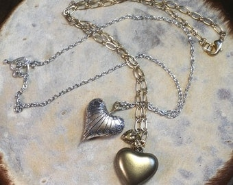 """Two Heart Necklaces, Brass/Silver Metal, 18.5"""""""