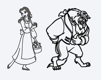 SVG Disneybelle And Beast Outline Be Our Guest Beauty