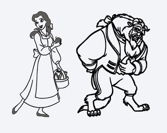 SVG Disneybelle And Beast Outline Be Our Guest Beauty The Belle Cut File Printable Cricut Silhouette Instant Download From