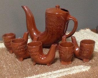 Vintage Russian Horn Tea Set, Red Pottery Tea Set, Vintage Pipe Tea Set, Vintage Russian Liquor Set, Vintage Bavarian Tea Set