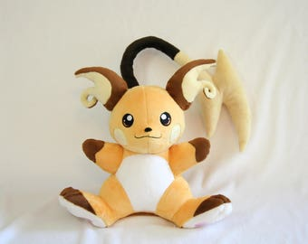 Pokemon Inspired Raichu Fan Plush - Made to Order