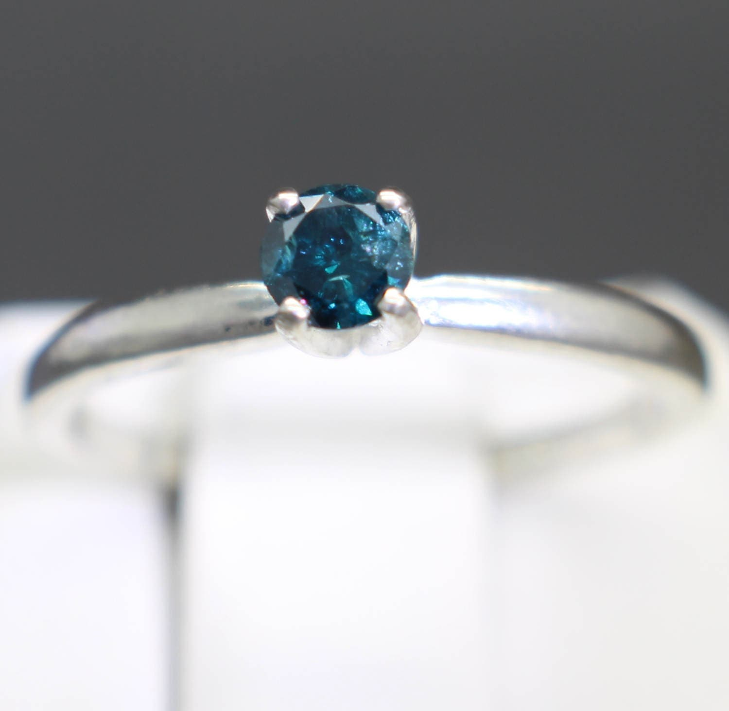018cts 366mm Rare Dark Blue Diamond Engagement Ring Graded And Apprasied!  Size 55