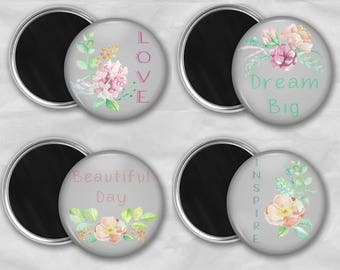 Floral Magnets, Inspirational Magnet, Refrigerator Magnets, Floral magnet set, Kitchen Magnet Set, Locker Magnet set, Motivational Magnets