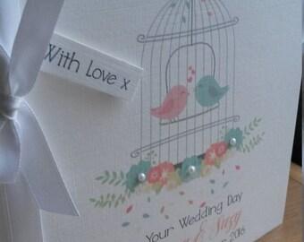 Personalised Wedding Congratulations card, Shabby Chic / Vintage birdcage, Civil Partnership card, Celebrations, Love.keepsake.