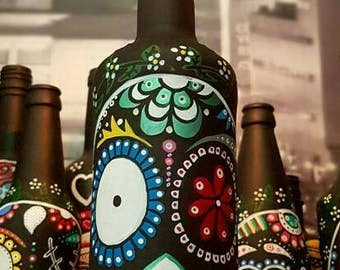 Mexican Day of the Dead Sugar skull, hand painted decorated bottles
