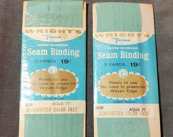 Vintage Wrights Seam Binding Aqua 77 Vintage Sewing Supply