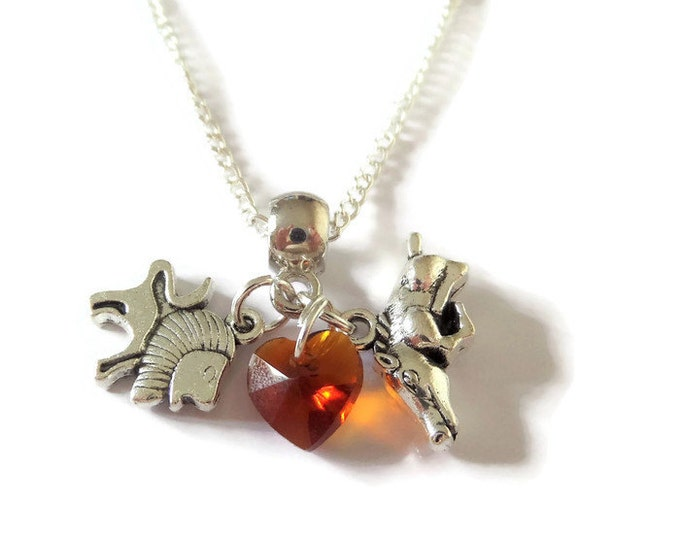 """LION KING inspired silver tone charm 20"""" necklace Simba & Pumbaa fan gift jewellery party favors Uk"""