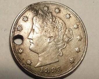Love Token 1883 Liberty Head V Nickel Engraved