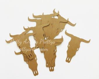 Cow Skull Die Cuts, Bull Skull Die Cuts, Bull Die Cuts, Country Western Skull, Steer Skull Die Cuts, Southwestern Die Cuts, 12 Ct.