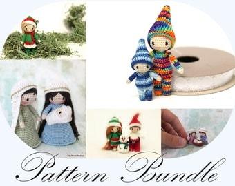 PATTERN BUNDLE: Christmas Pattern, Santa Doll, Crochet Elf, Amigurumi Nativity, Micro Nativity, Crochet Waldorf Elf