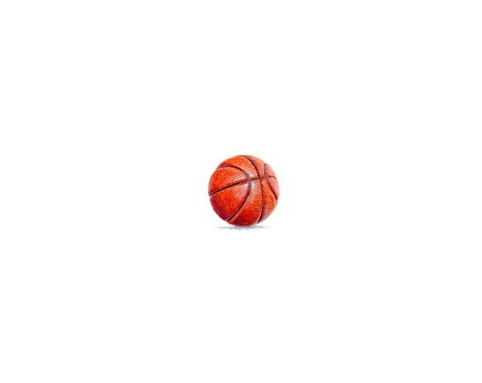 Original Miniature painting of Basketball tiny painting, Basketball tiny art 5 x 5