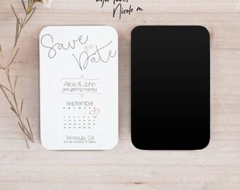 Mini Curly Font  Save the Date Calendar  Magnet