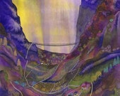 """Greetings card: """"Meander Valley"""" -  mystical card, fantasy card, valley and mountains, boho colours card, from a painting by Liz Clarke"""
