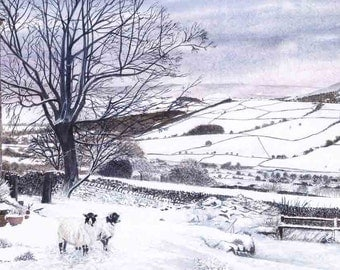 """Greetings card: """"Wharfedale winter"""" - winter landscape, snow scene, sheep card,Yorkshire,winter birthday card, from a painting by Dave Marsh"""