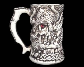 Unique Gift for Men, Viking Beer Mug, Viking Berserker Skull Warrior