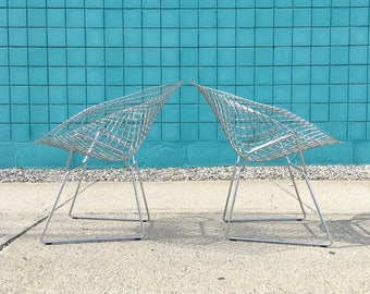 Harry Bertoia | Pair Diamond Chairs Satin Chrome | Knoll mid century