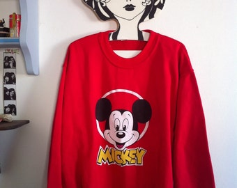 80s red Mickey Mouse sweat shirt / medium
