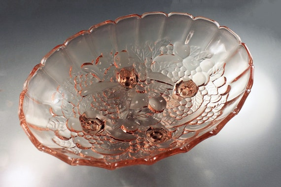 Indiana Glass Footed Bowl, Garland Pink, Centerpiece, Depression Glass, Fruit Pattern, Large Oval Bowl