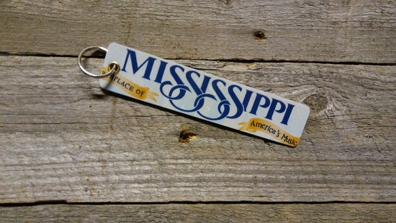 Mississippi License Plate Keychain - Key Ring Key Chain (Rustic Apple Art seen in Country Living Mag)