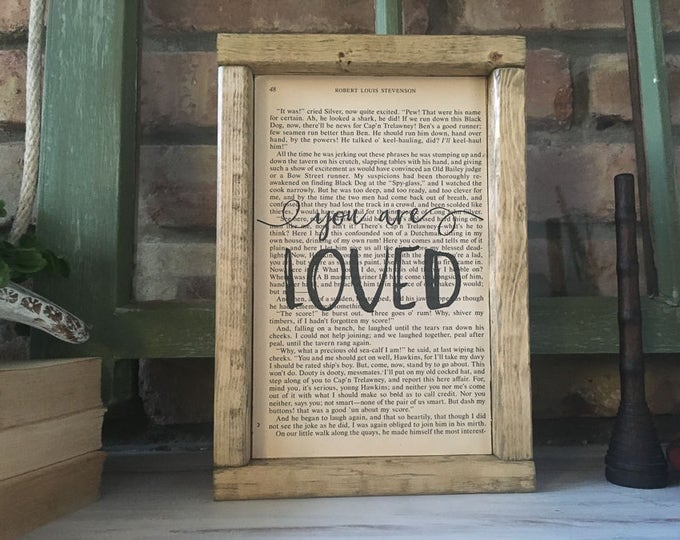 """Book Page Art with """"You are Loved"""" 