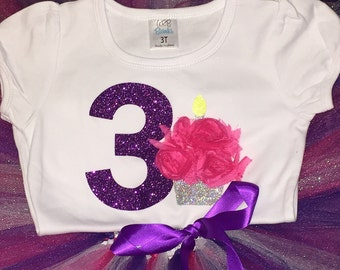 Girl's Third birthday outfit, 3rd birthday girls outfit, pink third birthday number 3 shirt, glitter birthday shirt with skirt, 3rd birthday