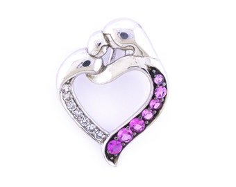 Sterling Silver 925 Created Pink Sapphire Necklace