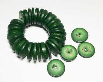 15mm Coconut wood discs, coco rondelle hunter green, coconut shell, natural wood beads-30pc