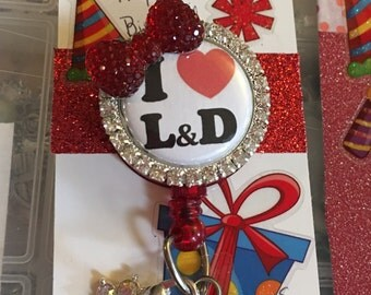 Labor and  delivery  Badge Reel, RN lanyard holder, retractable ID clip, bling bow, name tag, Pull tab access security card, unique