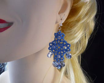 Bluebell (Sky blue)  Tatted Drop Earrings with Swarovski Crystals and Silver Accents and Fishhooks