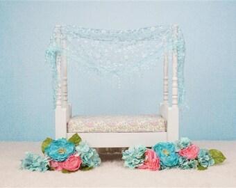 Digital Newborn Backdrop Aqua colored Bed. One of a kind prop!