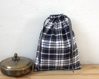 Bag pouch XS fabric - Navy Blue Plaid - wool flower by
