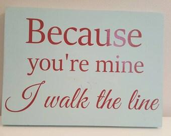 Walk the line chalk paint wood wall decor sign