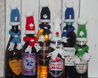 Six Nations Rugby hat and scarf bottle cosy.  England Wales Scotland Ireland France Italy